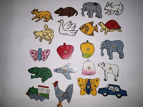 wood menggambar pola binatang & buah, bisa ditempel